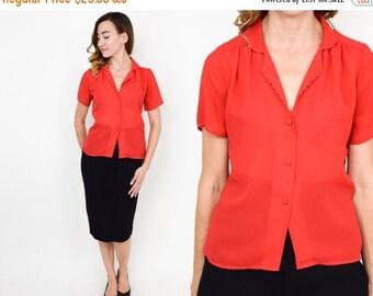 SummerS SALE 80s Red Blouse | Bright Red Chiffon Short Sleeve Shirt | Medium
