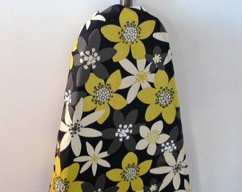 Ironing Board Cover - citrine, grey and tan flowers