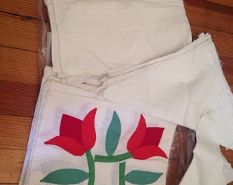 Vintage Antique Quilt Blocks Applique Tulips Red White