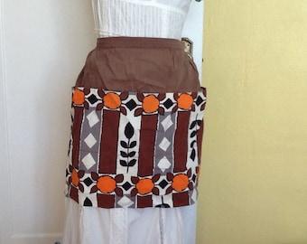 Vintage hostess apron Retro Mod Flowers Brown Orange