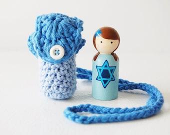 Hanukkah Doll Necklace - Festival Of Lighs - Peg Doll - Hanukkah Toy - Unique Gift - Zooble