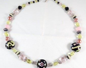 Pink Green Black Necklace with 9 Lampwork Beads
