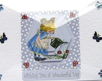 """Hand Crafted 3D Decoupage Card, Blank for any Occasion (2006) """"Wonderful Day"""", Birthday Card, Mom Card, Grandma Card, Blue Butterfly, Garden"""
