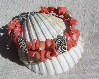 "Salmon Bamboo Coral Gemstone Bracelet ""Orange Fizz"", Coral Bracelet, Orange Bracelet, Cuff Bracelet, Beach Bracelet, Shell Bracelet"