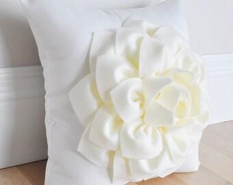 Cream Nursery Pillow, Filled Zipper Pillow Cover, Flower Pillow, Ivory Pillow, Decorative Pillows, Cushion Cover, Throw Pillow, Sofa Pillow