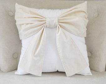 French Country Pillow - Cream Bow on White Pillow - Ivory Bow Pillow - Country Cottage Decor - Neutral Pillows