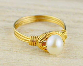Pearl Ring - Yellow Gold Filled or Argentium Silver Wire Wrapped White Freshwater Pearl- Any Size 4, 5, 6, 7, 8, 9, 10, 11, 12, 13, 14