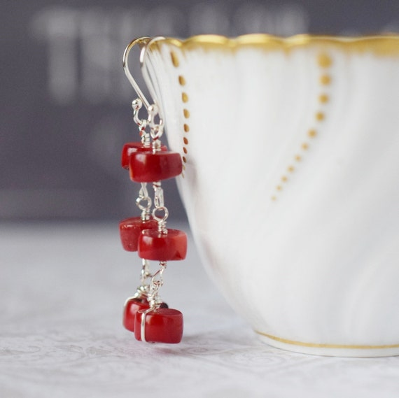 Poppy Red Coral Earrings Natural Stone Dark Red Coral Branch Stacked Dangles Long Red Earrings Sterling Silver Wire Wrapped Boho Chic Style
