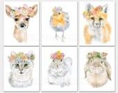 "Watercolor Animal Floral Art Prints - Set of 6 - ACEO- Mini Art Prints 2.5""x3.5"" Nursery Childrens Room PORTRAIT-Vertical Orientation"