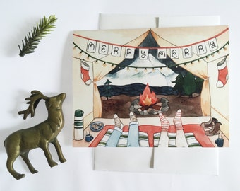 SALE 50% off: Tent View Christmas Card