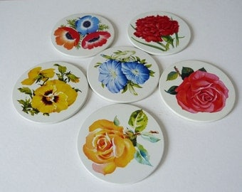 1970's flower coasters