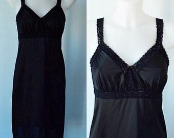 Vintage Black Slip, Kayser, 1980s Full Black Slip, Full Black Slip, Black Slip, Vintage Slip