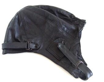 Vintage leather aviator hat.