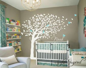 Nursery wall decals for boys or girls room. Large blowing summer tree wall decal with custom name and birds. Get custom colors at no charge!