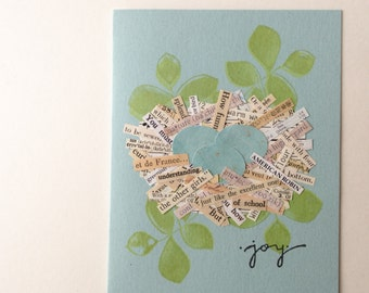 Joyful Nest Handmade Greeting Cards - collage, nest, eggs, joy, vintage text and maps - Mother's Day, New Baby, New Home