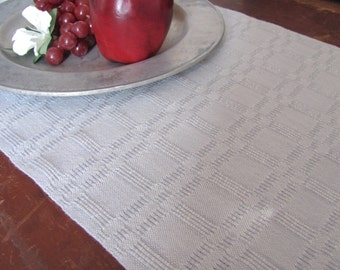 Rustic French Country Farmhouse Home Decor Woven Table Runner Cloth Placemat Fabric, Coastal Beach Cottage Chic Handwoven Silver Gray Cotton