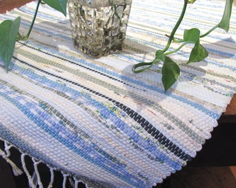 Rustic Country Farmhouse Decor Table Cover, Tablecloth, Wall Hanging or Floor Rug, Blue Coastal Cottage Home Decor Woven Recycled Cotton Rag