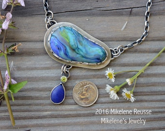 Watercolors  .... sterling silver statement PENDANT/Focal piece contemporary METALSMITH Artisan jewelry by Mikelene