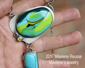 Lemongrass .... sterling silver statement PENDANT/ Necklace  contemporary METALSMITH Artisan jewelry by Mikelene