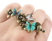 Twig Ring - Nature Jewelry - Double Ring - Butterfly Jewelry - Statement Ring - Vine Ring - Twig Jewelry - Nature Inspired Ring
