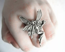 Fairy Jewelry - Art Nouveau Ring Faerie Jewelry Silver Statement Ring Adult Fairy Costume For Adults Fairy Gift Woodland Fairy Costume Women