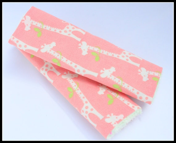 Sale Ready To Ship- Cutie Pie Giraffes on Peach/ coral - Reversible ...
