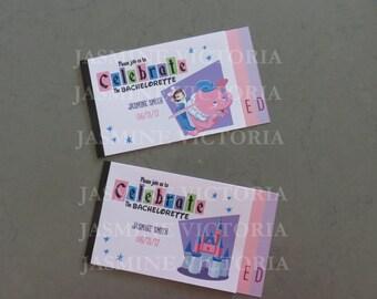 Retro Bachelorette Vintage E Ticket 3 Page Invitation Booklet
