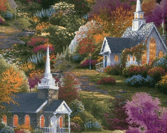 Spring Chapels - David Textiles - Thomas Kinkade - 1 yard - More on Order - BTY