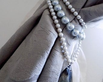Grey faux pearls triple strand curtain holder with smoky glass drops, decorative tieback