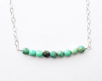 Petite Green Moss Opal Necklace with Sterling Silver