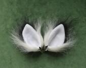 Black and White Faux Fur Ears Panda Fox Cat Dog Wolf Halloween Costume Cosplay