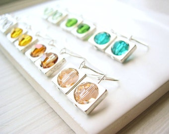 Modern Crystal Earrings, Simple, Minimalist Jewelry, Clear, Mint, Green, Yellow, Teal, Peach, Orange, Clip On, Titanium, Sterling Silver