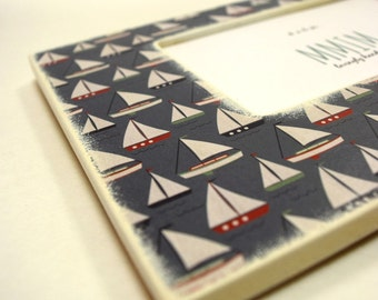 Sail Boats  4 x 6 Picture Frame, Photo Frame, Unique frames, nursery,  Baby shower,Nautical, New Baby, Modern Baby, Navy, Ocean, Lake House