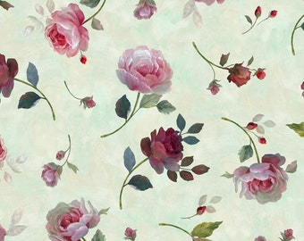 Sage Tossed Roses - Rosewater from Quilting Treasures - Full or Half Yard Tossed Dark Red and Pink Roses on Sage Watercolor Background
