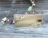 Vintage Gold Filigree Tissue Box, Glam Girl's Tissue Box or Vanity Accessory Bath Accessory