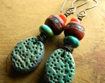 Tribal Jewelry Turquoise Drop Earrings Polymer Clay Red Mala Wrapped Rustic