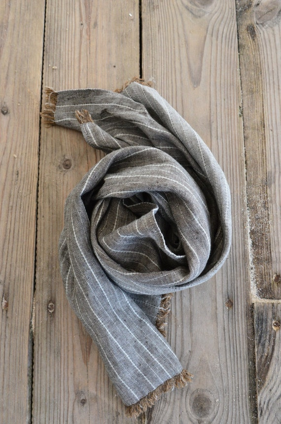 100% Linen, linen scarf, mens fashion, mens accessory, mens gifts, mens striped scarf, brown scarf