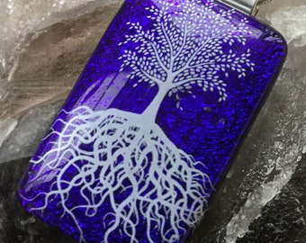 "Dichroic glass kiln fused pendant,midnight blue, white Tree of Life,5cm x 2.5cm/ 2"" X 1"", 18""snake chain & gift boxed, spiritual necklace"