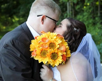 Sunflower and orange real touch mini calla lily bouquet with burlap and pearls