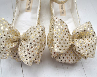 Baby Girl Shoes Metallic Gold Sequin Ankle Strap Shoes With Large Bow by Bobka Baby