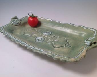 Tray/pottery tray/cheese plate/jewelry tray/ceramic tray/aqua pottery/