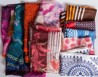 Lot of 11 Vintage Scarves Handkerchiefs 60s 70s