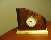 Desk Clock Made Of Crotch Walnut With Quartz Movement