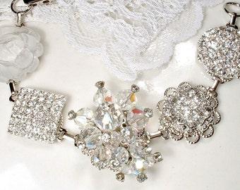 OOAK Clear Crystal Rhinestone Silver Bridal Bracelet, Hollywood Deco Glam Vintage Cluster Earring Bridesmaids Jewelry Metallic Wedding Gift