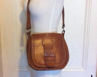 SALE Vintage Tooled Leather handbag Purse - was 58