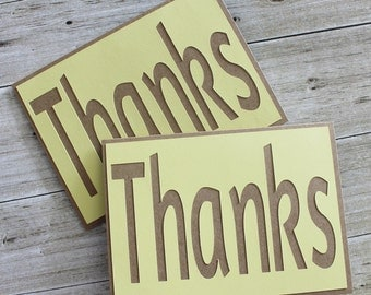SALE  Thanks - Thank You - Any Occasion- Just Because- Homemade Card - Set of 2 - Lt Yellow