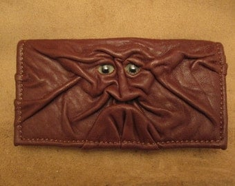 "Grichels leather checkbook cover - ""Huritz"" 28127 - chocolate brown with green carousel horse eyes"