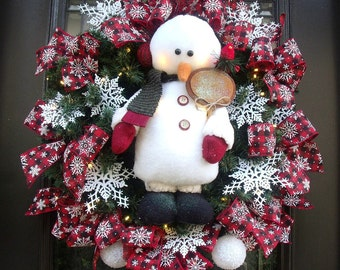 Lighted Snowman Wreath, Christmas Wreath, Snowman Door Wreath, Winter Wreaths For Front Door, Red Black and White Christmas Decoration