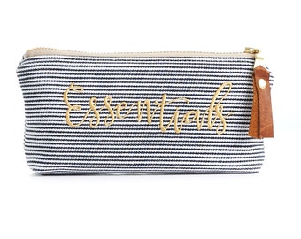 Essential Oils Pouch in Railroad Denim with Waterproof Liner