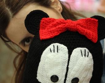 Mini Mouse Inspired Hat, Crochet Girl Mouse Hat, Crochet Funny Children Hat, Crochet Warm Hat for Children